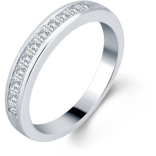 1/2 Carat T.W. Princess Diamond 10kt White Gold Wedding Band, I-J/I2-I3