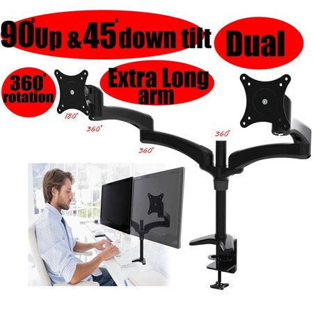 Pole Mount Lcd Stand Adapter - 2xhome -New Dual Mount Ergonomic Fully Height Adjustable Easy Articulating Tilting Black Desk Pole Mount Bracket Desktop Flat Panel Clamp Stand for LCD LED