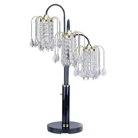 ORE International Table Lamp with Crystal-Like Shades, Black ()