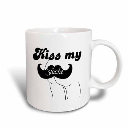 3dRose Funny Kiss my stache mustache humor - Black and white moustache fun wordplay pun naughty joke, Ceramic Mug, 15-ounce