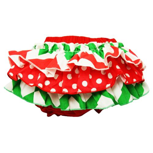 Baby Girls Red White Green Holiday Multi Print Cotton Bloomers 0-24 Months
