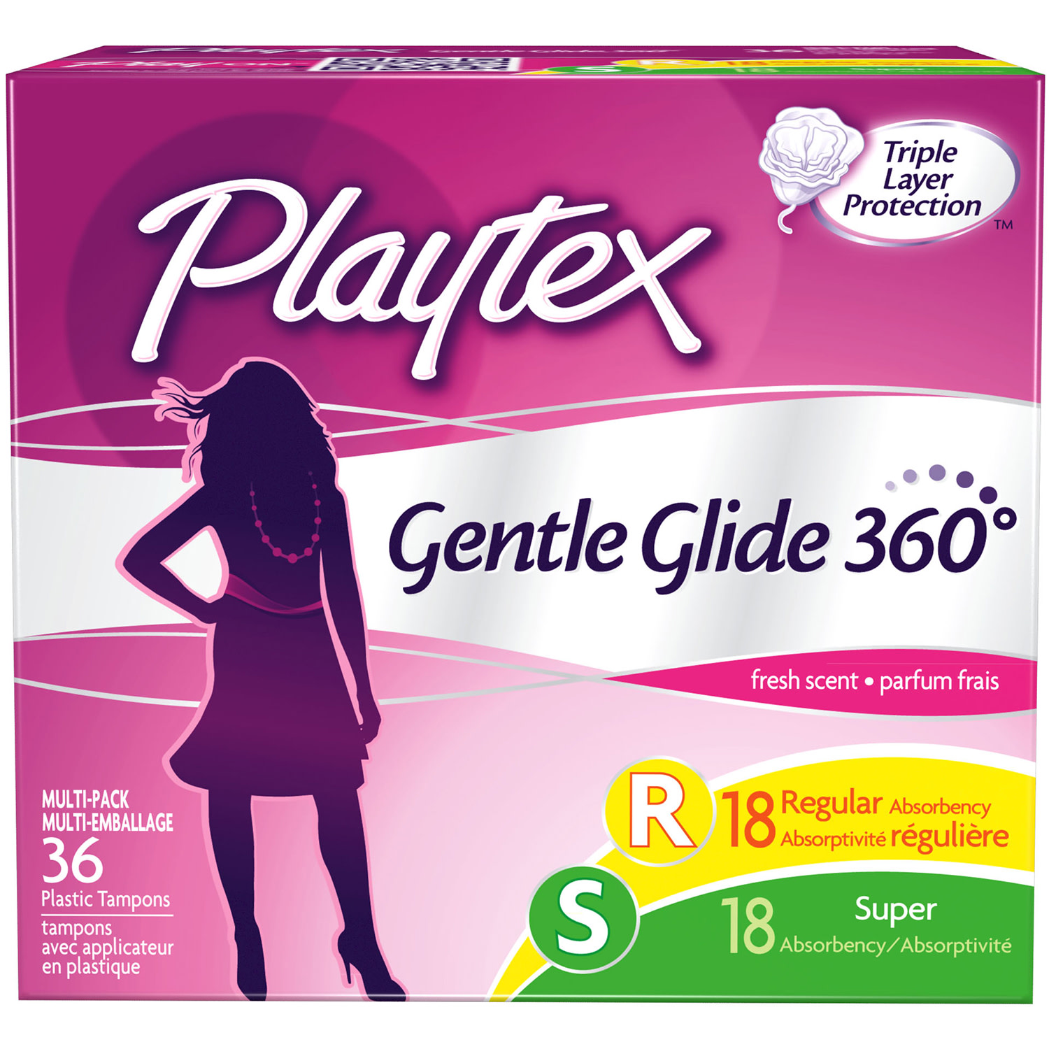 Playtex Gentle Glide Tampons Scented Multi-Pack 18 Regular Absorbency And 18 Super Absorbency - 36 Count