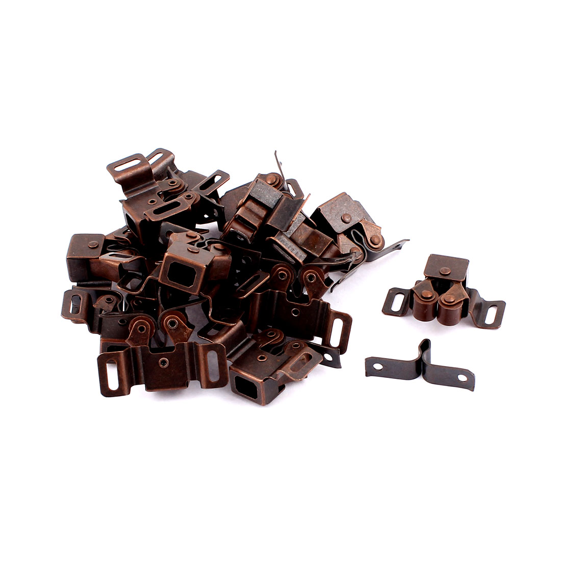 Cabinet Cupboard Door Double Ball Roller Catch Latch Lock Copper Tone 17pcs