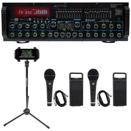 Technical Pro MM2000BT Active Bluetooth Karaoke Mixer Amp SD, USB+(2) Mics+Stand