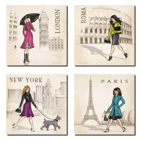 Paris, London, Roma and New York Set by Andrea Laliberte 8x8inch Art Print Poster
