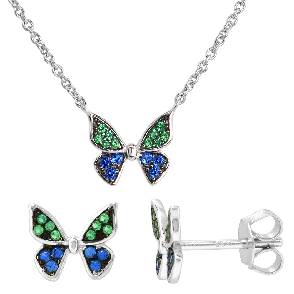 Jewel Tie Sterling Silver RH Plated Childs Polished Butterfly Pendant