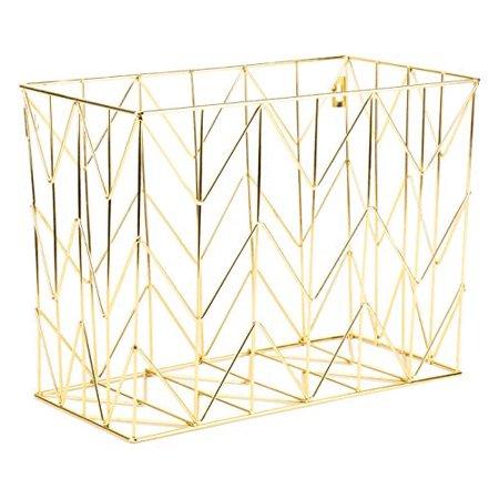 U Brands Hanging File Desk Organizer, Wire Metal, Gold - Gold Desk Accessories