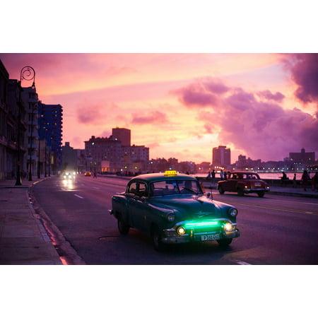 Canvas Print Old Night Tourism Travel Sunrise Havana Car Cuba Stretched Canvas 10 x 14](Havana Nights Theme Party)