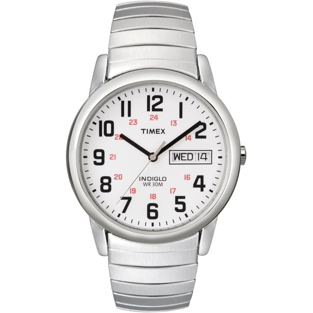 Timex Men's Easy Reader Day-Date 35mm Silver-Tone Stainless Steel Expansion Band Watch