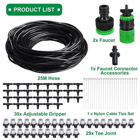 66ft 82ft Mist Drip Irrigation System Sprinkler Micro Spray Watering Water Set Misting Cooling Plant Garden Patio Hose 30 Nozzle Sprinkle Rassorted Kit 20 Plastic Mister (Drip Irrigation Sprinklers)