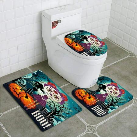 PUDMAD Halloween Cartoon Girl Sugar Skull Makeup Retro Seasonal Swirled Trees 3 Piece Bathroom Rugs Set Bath Rug Contour Mat and Toilet Lid