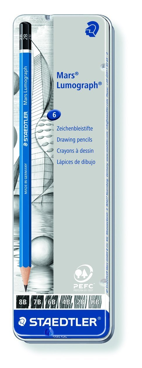 Set of 6 Degrees in an Attractive Storage Tin Staedtler Lumograph Graphite Drawing and Sketching Pencils 100G6 100G6