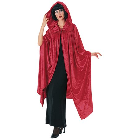 Hooded Crushed Red Velvet Cape Adult Halloween Costume](Halloween Red Hooded Capes)