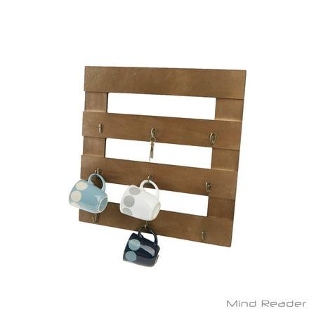 Mind Reader 9-Hook Coffee Cup Rack, Coffee Mug Storage Organizer, Brown (Cup Rack)