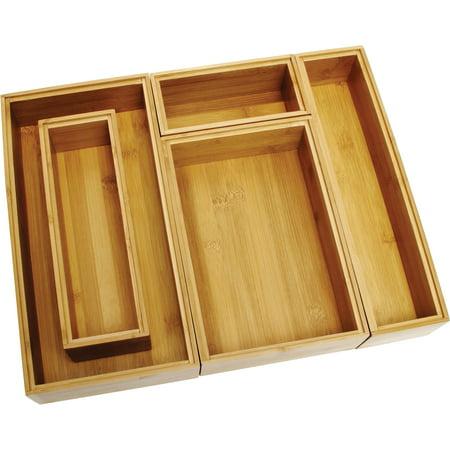 Lipper International Bamboo Organizer Boxes, 5-Piece Set