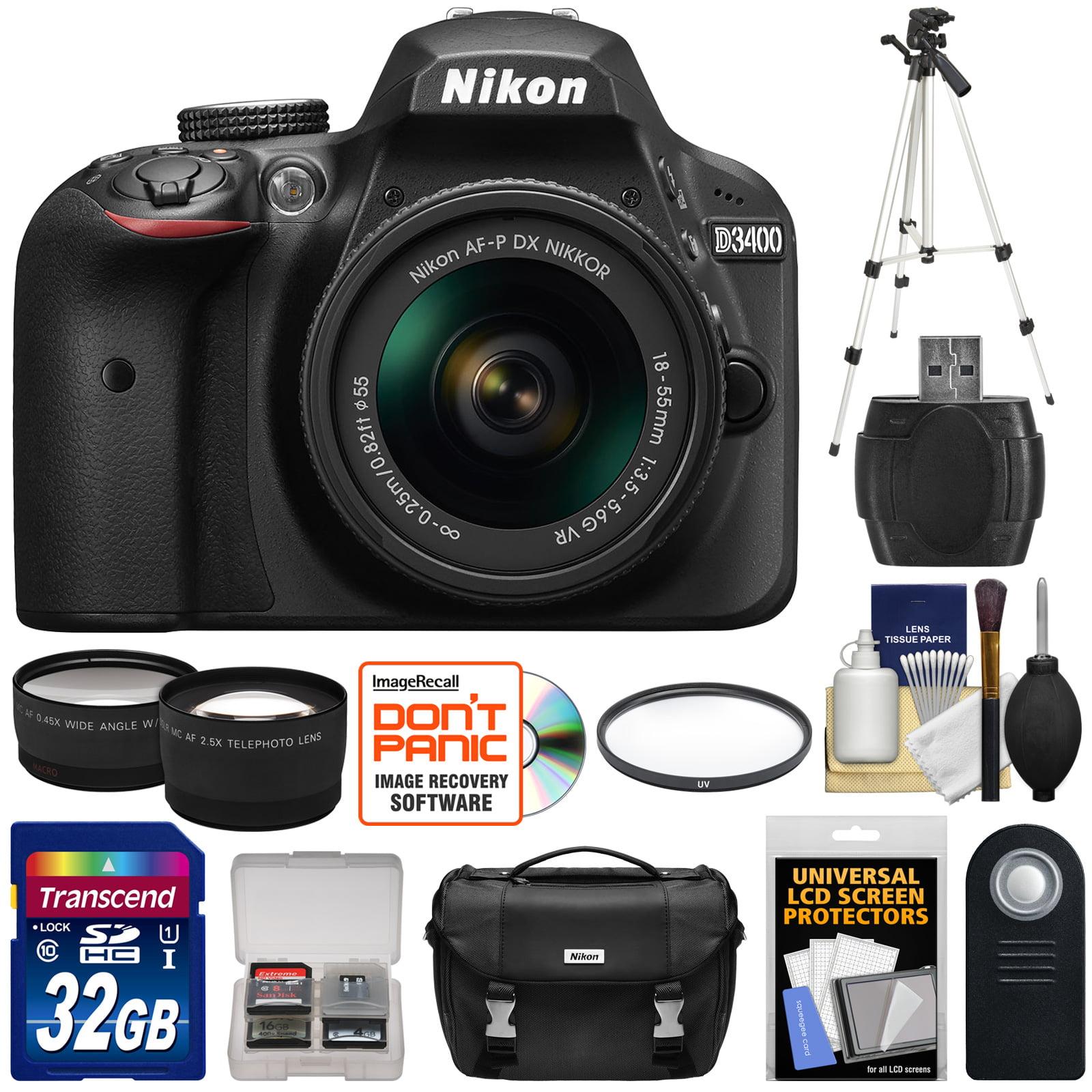Nikon D3400 Digital SLR Camera & 18-55mm VR DX AF-P Zoom Lens (Black) - Refurbished with 32GB Card + Case + Tripod + Filter + Telephoto & Wide-Angle Lenses + Kit