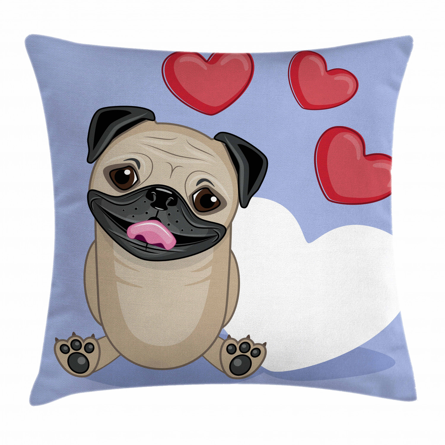 Pug Throw Pillow Cushion Cover Happy Cute Dog Licking Its Lips With Three Red And One Big White Heart Love Theme Decorative Square Accent Pillow Case 20 X 20 Inches Pale Brown