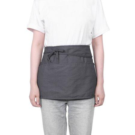 "Waist Apron with 3 Pockets-Waitress Server Short Half Apron for Men&Women,24""x12"" Waiter Uniform Apron for Kitchen Restaurant Bar"