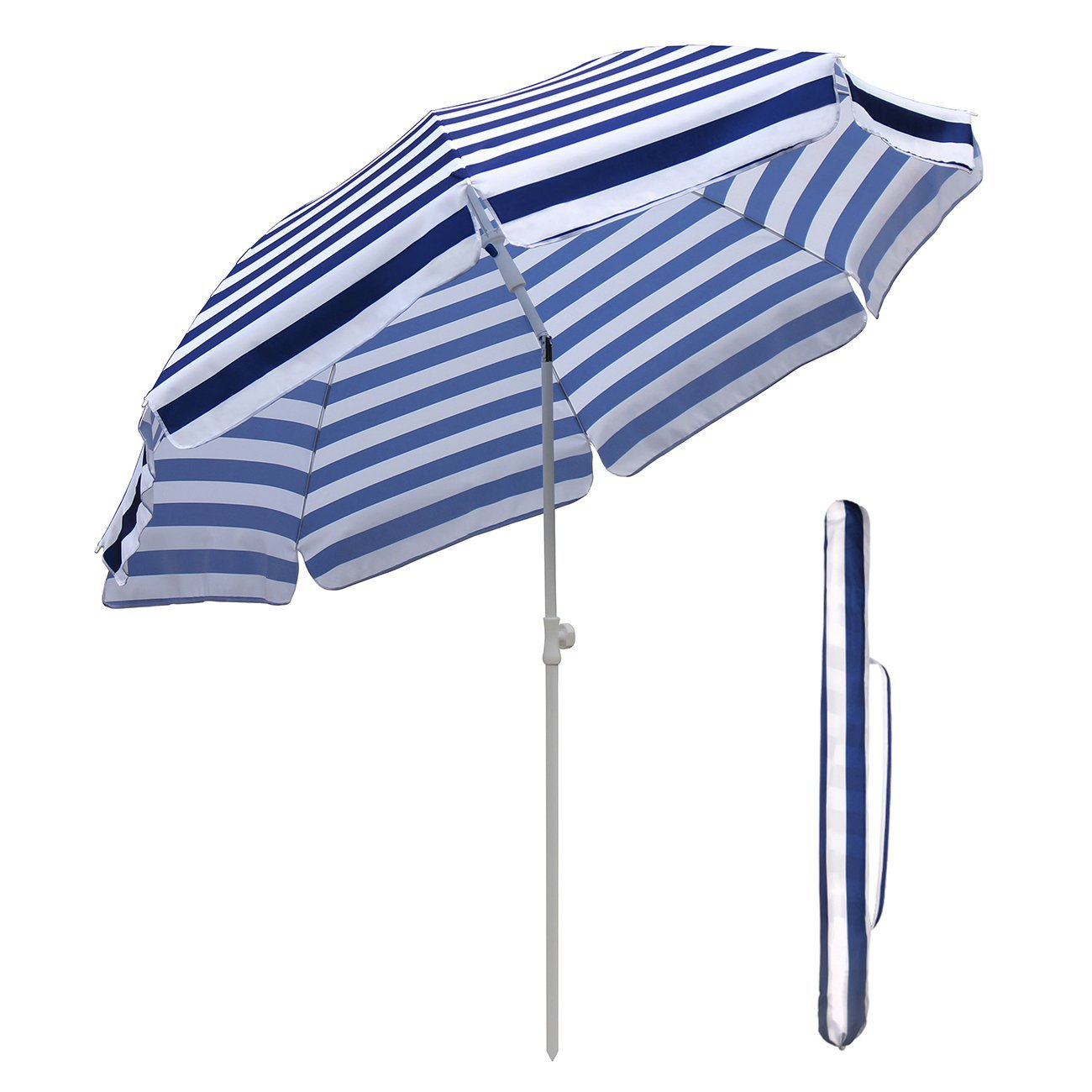 SekeyØ7ft beach umbrella blue white stripes outdoor umbrella blue white stripes outdoor patio umbrella outdoor market umbrella blue white stripes, with tilt and crank, round sunscreen UV25+