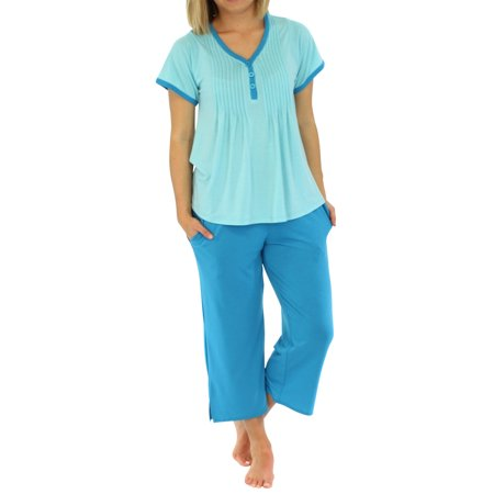 Knit Sleep Tee (PajamaMania Women's Sleepwear Knit Short Sleeve V-Neck Top and Capri Pant Pajama Set )