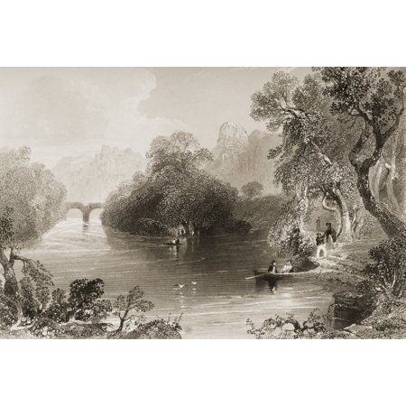 Old Weir Bridge Killarney County Kerry Ireland Drawn By WHBartlett Engraved By GKRichardson From The Scenery And Antiquities Of Ireland By NPWillis And JStirling CoyneIllustrated From Drawings By WHBa (Autographed Kerry Wood)
