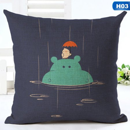 KABOER New Style Sea Animals Cotton Linen Pillow Case Sofa Cushion Cover Fashion Home Decor Trend ()