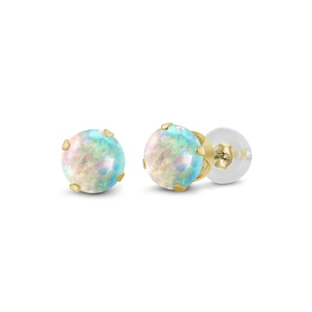 0.50 Ct Round Cabochon 4mm White Simulated Opal 14K Yellow Gold Stud Earrings