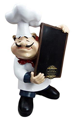 """Atlantic Collectibles Chef Mario Italian Bistro Holding Chalkboard Menu Kitchen Decor Statue 10.75""""H by Atlantic Collectibles"""