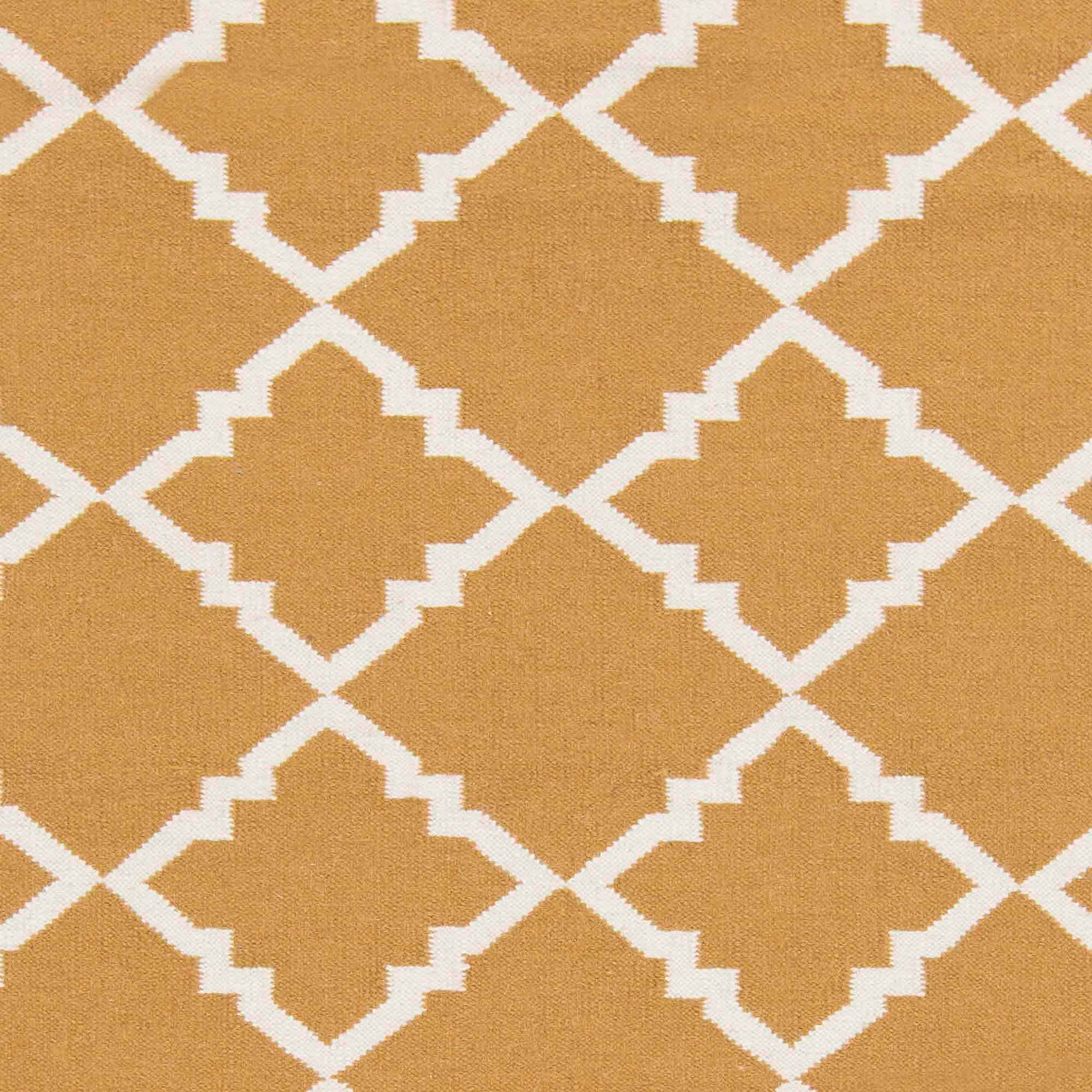 Art of Knot Prichard Hand Woven Gate Scroll Flatweave Wool Area Rug, Golden