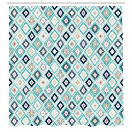 April Doodle (Turquoise Shower Curtain, Dots Doodle Rhombus Diamond Shapes Colorful Geometrical Pattern Artwork, Fabric Bathroom Set with Hooks, Turquoise Multicolor, by)