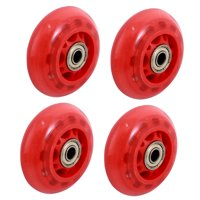 Unique Bargains 4 Pieces Red Skating Shoes 608ZZ Bearing 7cm Diameter Inline Wheel Roller