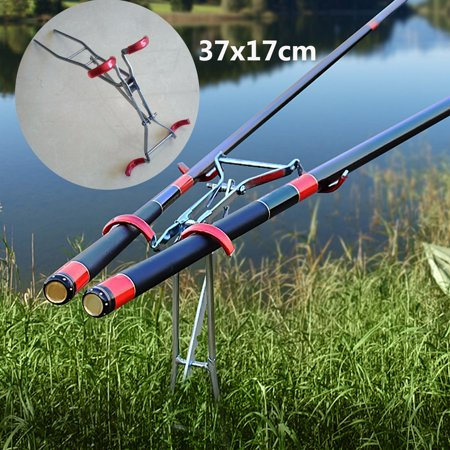Adjustable Fishing Rod Bracket Double Pole Fishing Rod Racks Foldable Rob Holder Fishing Accessory Tool Stand ()