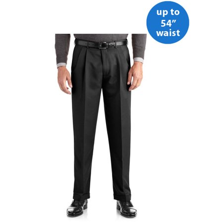 Big Men's Pleated Cuffed Microfiber Dress Pant With Adjustable (Easy Care Dress Pants)