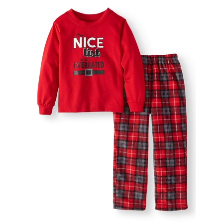 Family PJs Holiday Family Sleep Plaid Santa Pajamas, 2-piece Set (Toddler Girls)