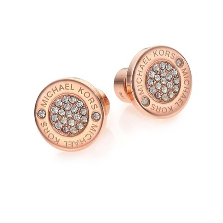 65dfdcc9c Michael Kors - Heritage Plaque Pavé Logo Stud Earrings/Rose Goldtone -  Walmart.com