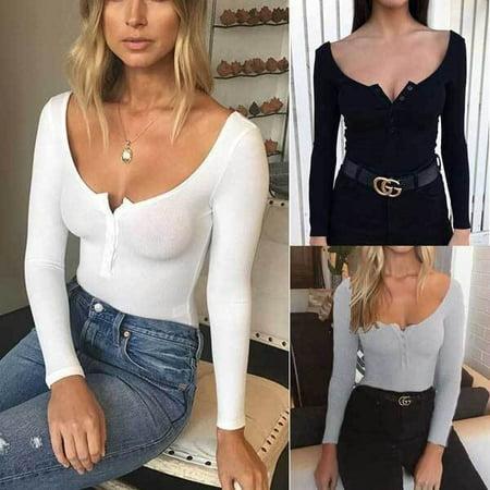 Sexy Women Long Sleeve Shirt Romper Jumpsuit Bodysuit Stretch Leotard Top Blouse - Next Womens Onesie