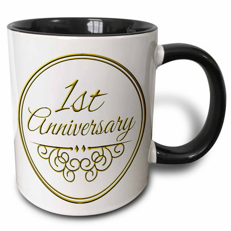 3dRose 1st Anniversary gift - gold text for celebrating wedding anniversaries 1 first one year together, Two Tone Black Mug,