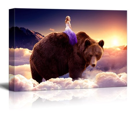 wall26 Canvas Wall Art - Fantasy Series - Girl Riding on the Back of a Bear with Clouds - Giclee Print Gallery Wrap Modern Home Decor Ready to Hang - 32x48 inches (Girl Giclee Canvas)
