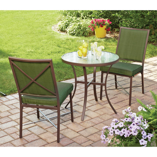 Mainstays Crossman 3 Piece Outdoor Bistro Set, Green, Seats 2