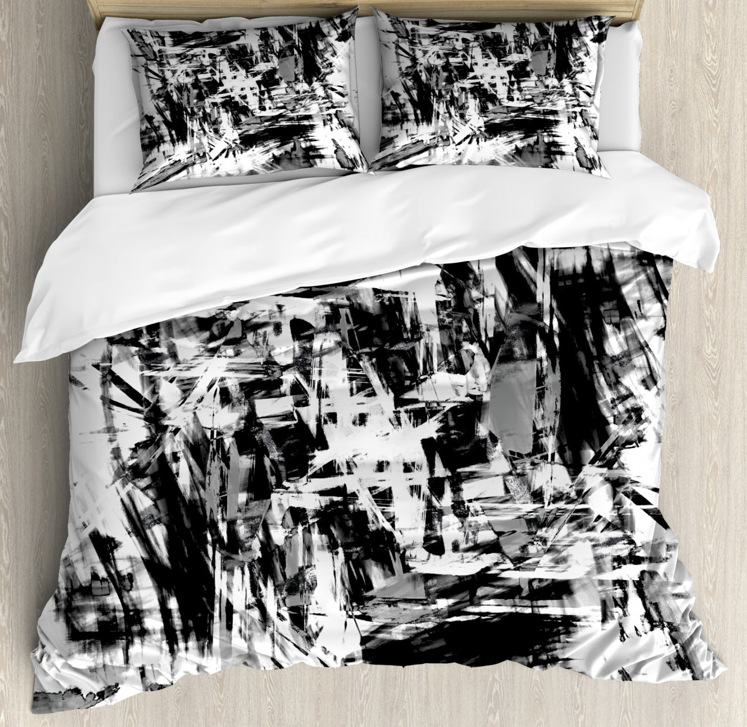Black And White Duvet Cover Set Old Grunge Style Abstract Art With Brushstrokes Chaos Image Print Decorative Bedding Set With Pillow Shams Black White Grey By Ambesonne Walmart Com Walmart Com