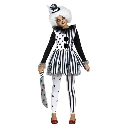 Girls Freak show Killer Clown Tutu Dress and Hat Halloween Tights Child Costume (Jigsaw Killer Costume)