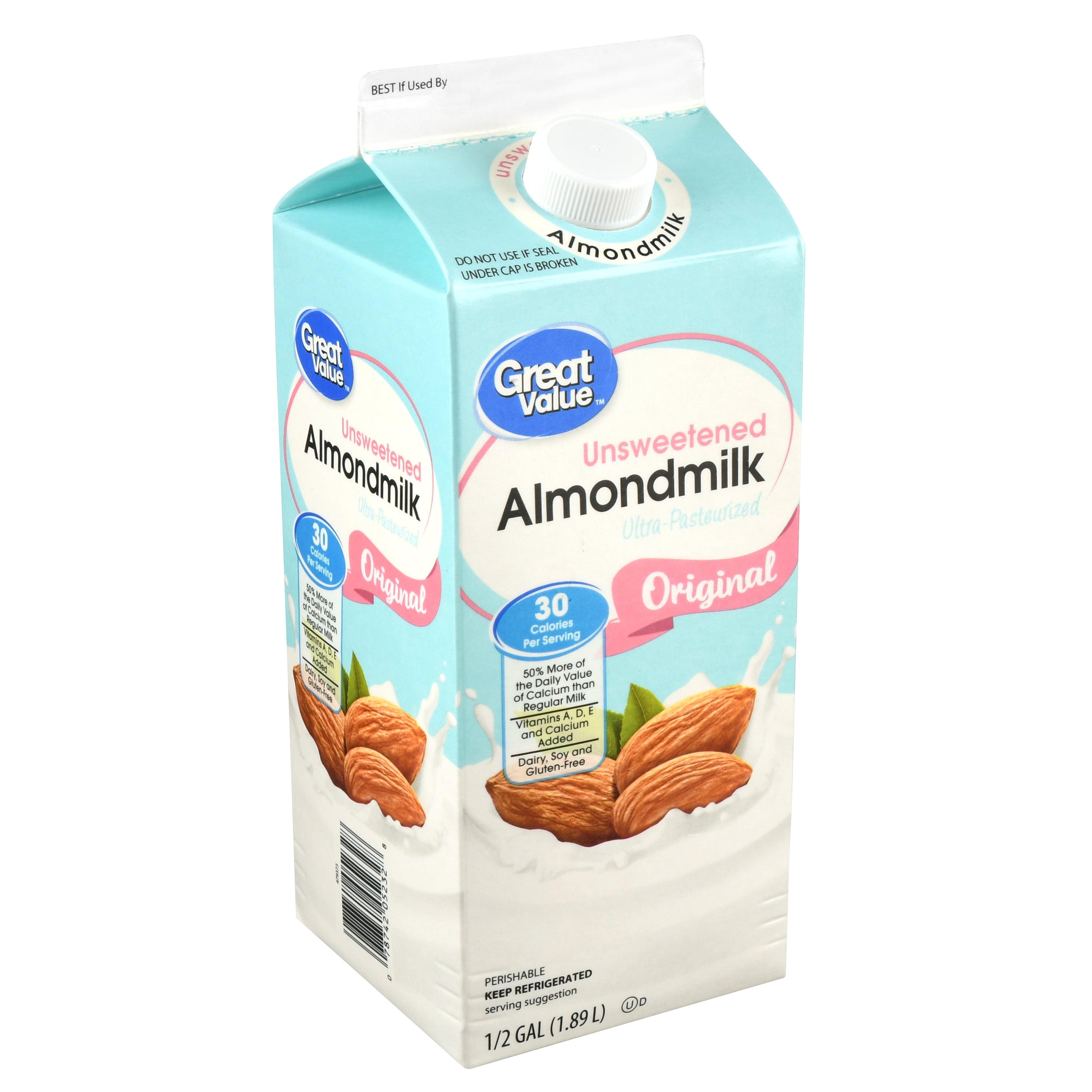 Great Value Original Unsweetened Almond Milk, 0.5 Gal