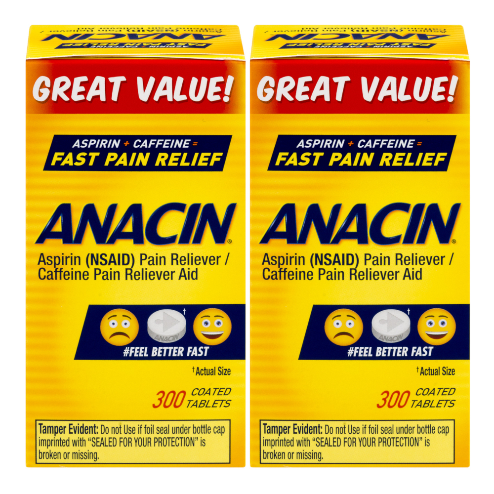 2 Pack Anacin Fast Pain Relief Aspirin & Caffeine Pain Reliever 300 Tablets Each