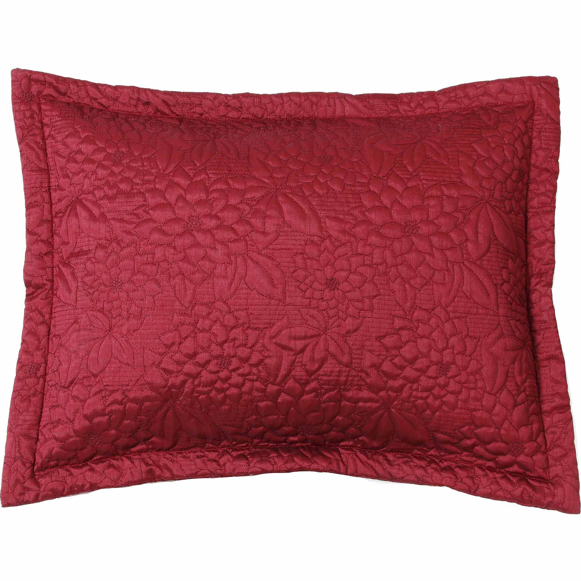 Belle Maison Gardenia Embroidered Quilted Standard Sham, Red