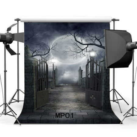 GreenDecor Polyster 5x7ft Halloween Backdrop Hallowmas Horror Night Shining Moon Night Gothic Road Lamp Metal Gate Brick Floor Scary Photography Background Kids Adults Masquerade Photo Studio Props