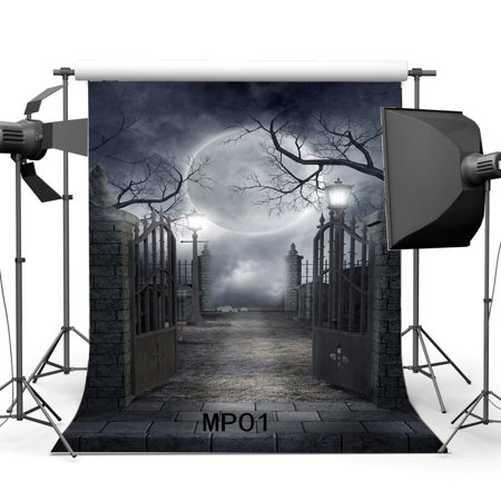 GreenDecor Polyster 5x7ft Halloween Backdrop Hallowmas Horror Night Shining Moon Night Gothic Road Lamp Metal Gate Brick Floor Scary Photography Background Kids Adults Masquerade Photo Studio Props - Halloween Streamer Backdrop