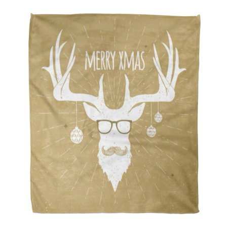 ASHLEIGH Flannel Throw Blanket Gold Hipster Vintage Christmas Deer White Silhouette Mustache and Eyeglasses Greeting 58x80 Inch Lightweight Cozy Plush Fluffy Warm Fuzzy (Vintage Frame Silhouette)