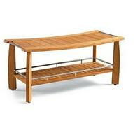"WholesaleTeak Outdoor Patio Grade-A Teak Wood Luxurious Outdoor Garden 42"" Estate-size Teak double Shower Backless Bench #WMAXSBES"