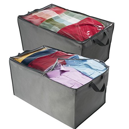Jumbo Comforter - Jumbo Storage Bag, Breathable Blanket, Clothes Storage Bag For Comforter, And Quilts, With Clear Viewing Top And Sturdy Zipper For Clothing, Linens, Shoes Etc. Set Of 2, Grey 17.5x29x15.5