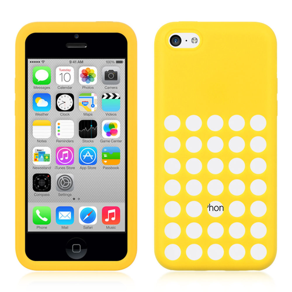 Yellow Silicone Skin Case Cover with Holes for iPhone 5C